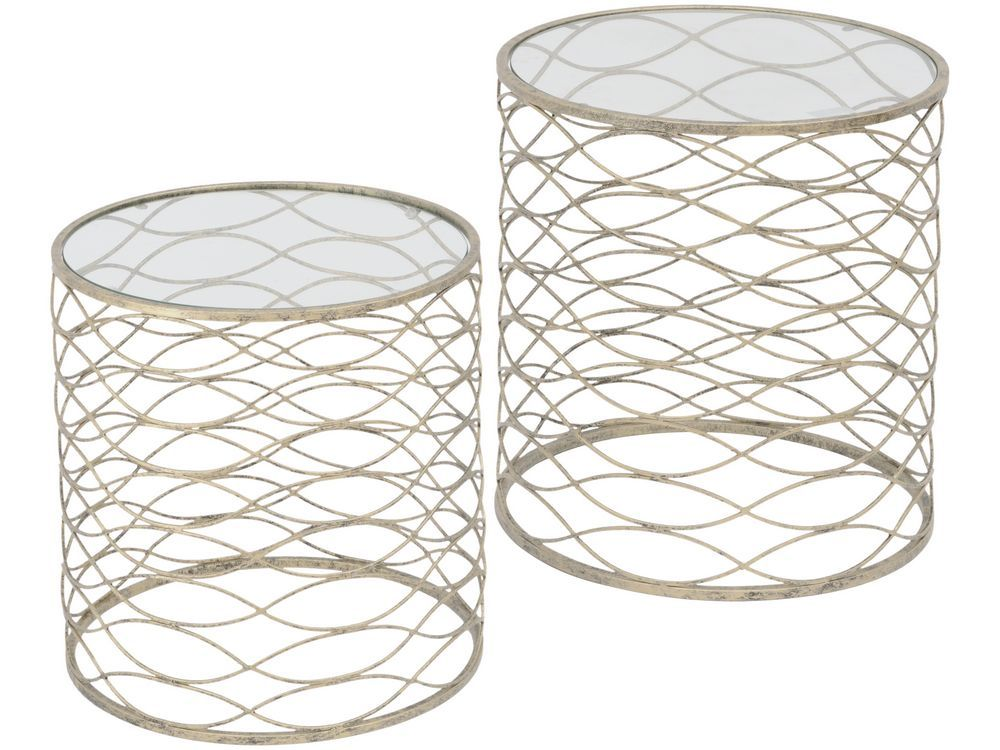 Metal Ribbon Style Round Tables Nesting Side Tables