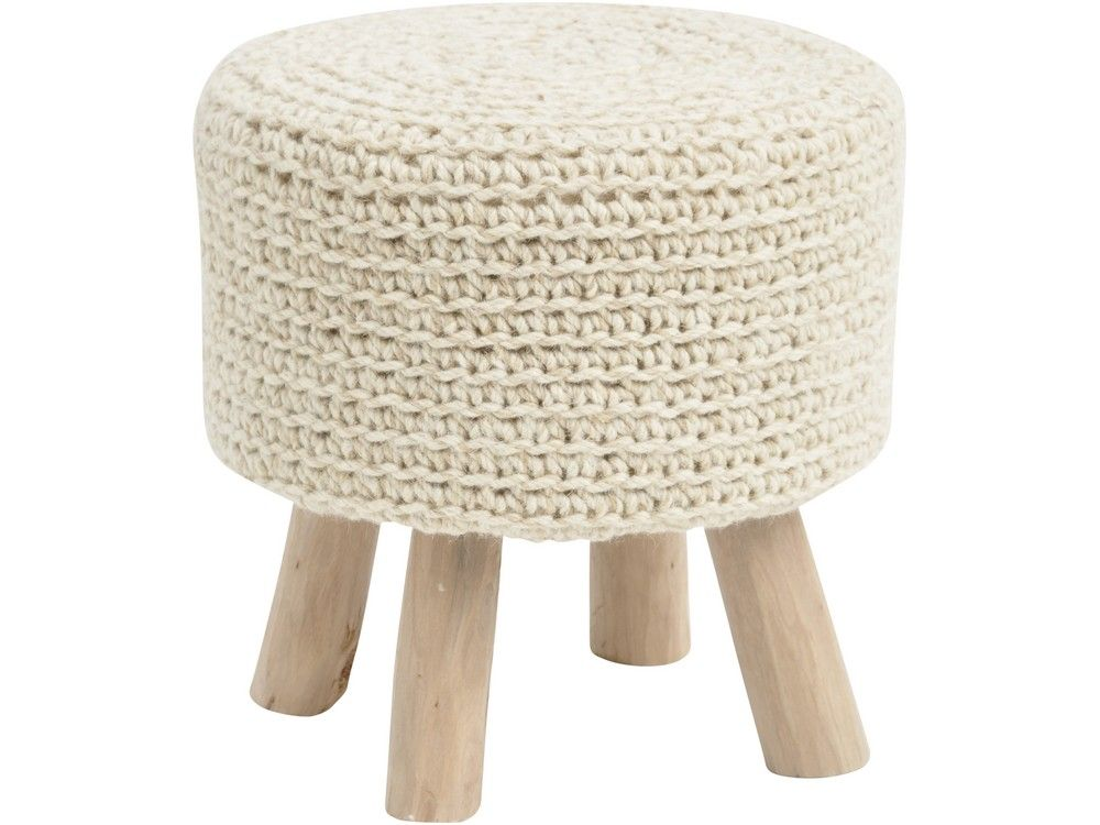 Knitted Footstool Pattern : natural knitted stool woven wool foot stool