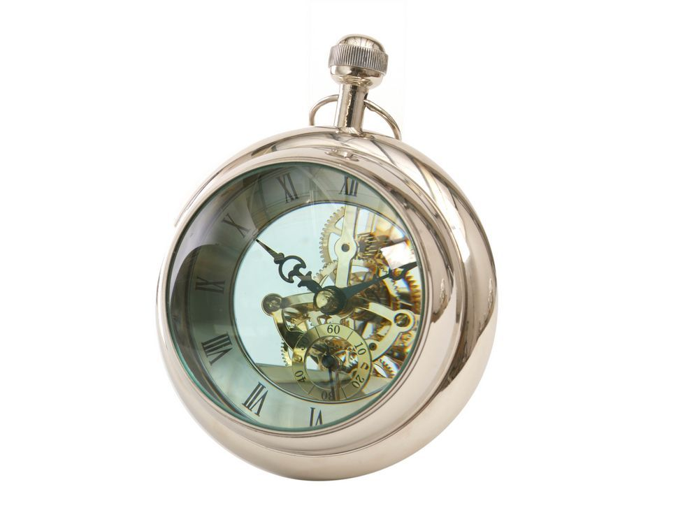 Ball Clock Paperweight Round Silver Desk Clock
